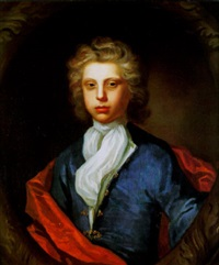 portrait of a young man, wearing a blue coat, red cloak and white shawl by charles d' agar