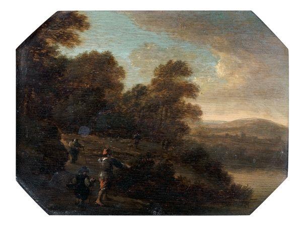promeneurs dans un paysage de rivière by pieter jansz van asch