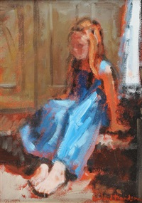 girl in blue dress by rowland davidson