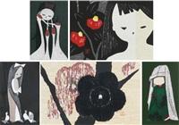 young girls (4 work); flowers (2 works)(6 works) by kaoru kawano
