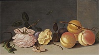 a lizard, rose, peaches and other flowers on a stone ledge by jan baptist fornenburgh