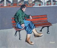 bankta dinlenen adam by agop arad