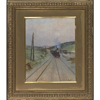 military on the lookout (+ locomotive at the station, pair) by louis raoul arus