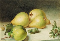 still life with a pear, quinces and beechnuts by frederick smallfield