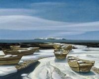 有船的风景 (landscape with boat) by hu jiancheng