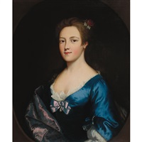 portrait of a lady in blue by nathaniel hone the elder