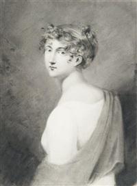 portrait de femme à mi-corps et esquisse de portrait (recto-verso) by étienne charles leguay