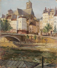 le pont louis-philippe, l'église saint-gervais, saint-protais by francois maurice roganeau