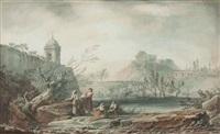 lavandière au bord de la rivière enjambée par un pont (+ another; 2 works) by alexandre jean noel