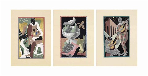 fleurs et masques set of 16 by gino severini