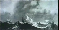 shipping on a stormy sea by aert van antum