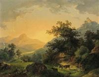 landschaft mit weidevieh bei untergehender sonne by joseph altenkopf