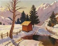 paysage russe sous la neige by mikhail markianovich germanshev