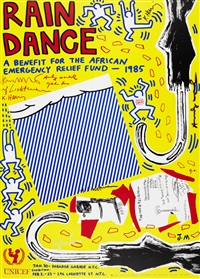 rain dance by keith haring, andy warhol, roy lichtenstein, yoko ono and jean-michel basquiat