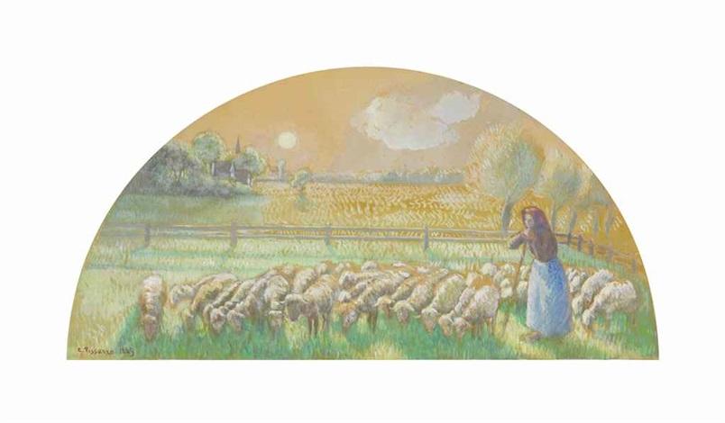 gardeuse de moutons by camille pissarro
