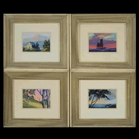 sunset sail; seascape; hiker's view & mountain landscape (four seasons) (4 works) by merlin glen enabnit