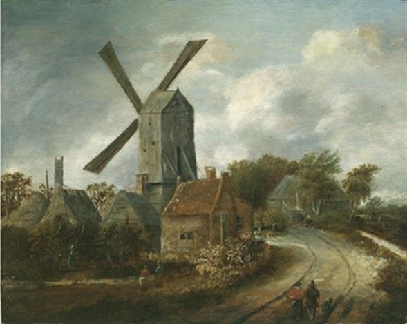 Bilder Mit Häusern landschaft mit windmühle zwischen häusern by meindert hobbema on artnet