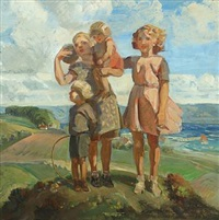 hilltop with siblings, in the background view over the sea by carl forup