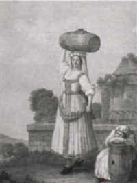 a woman from venafro carrying a barrel by alessandro d' anna