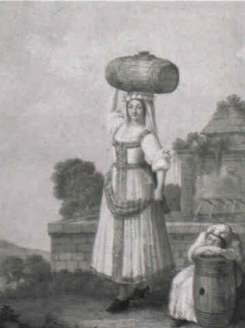 a woman from venafro carrying a barrel by alessandro d anna