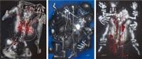 sans titre (hommage à djamila boupacha) (triptych) by ladislas pierre kijno
