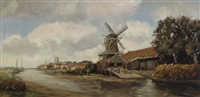 river landscape with a windmill by hendrik cornelis kranenburg