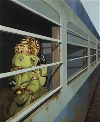 untitled - i (ganesha on a train) by prajakta aher