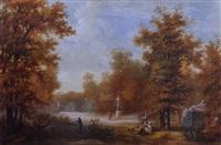 vue d'un parc avec des personnages by louis gadbois