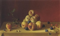 still life with peaches plums and berries by fernand renard