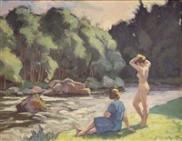 nu au bord d'une rivière by alfred martin