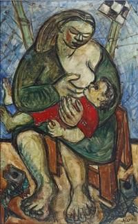 maternité au bords de la mer by paul aïzpiri
