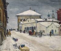 a snowy village by arnold borisovich lakhovsky