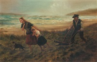 ploughing at the shore by hamilton macallum