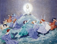 baby on hill surrounded by dancing fairies by honor c. appleton