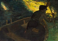 eel catcher at night by christian krohg
