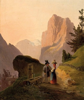 begegnung am brunnen auf der hochalm by anton altmann the younger