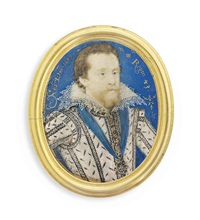 king james i of england and vi of scotland (1566-1625), in white doublet, slashed on bodice and sleeves to reveal black, jewel-set gold buttons by nicholas hilliard