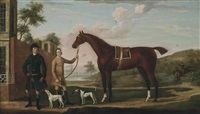 a huntsman with his chestnut hunter, held by a groom, with two hounds, an extensive landscape beyond by richard roper