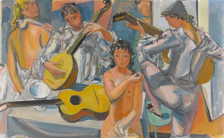 nus et arlequins à la guitare by maurice barraud