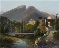hill town in an italian landscape by raimondo scoppa