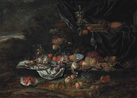 grapes peaches and plums on a porcelain dish with a roemer a fish on a pewter charger and fruit in a tazza with a partly peeled lemon by jan pauwel gillemans the elder
