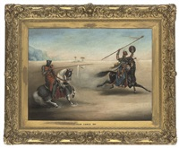 a crusader jousting with a saracen in the desert by john cawse