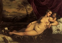 venere con amorino in un paesaggio by lambert sustris