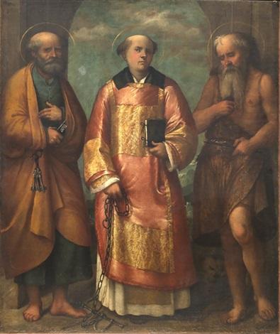 i santi pietro, leonardo e gerolamo by romanino (girolamo romani)