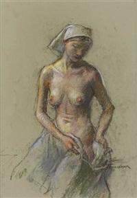 three female nude drawings (3 works) by robert brackman