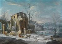 eine winterlandschaft mit reisenden in pferdeschlitten vor den ruinen einer burg by thomas wijck