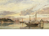 the venetian lagoon at sunset by edward william cooke