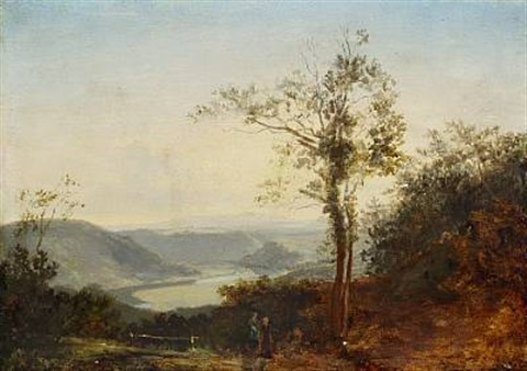 hilly landscape with a river in the valley by thomas fearnley