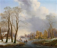 a dutch winter landscape with figures on a frozen river by hendrik altmann