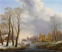 a dutch winter landscape with figures on a frozen river by hendrik altmann